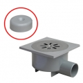 Complete grey PVC trapped floor drain with side outlet