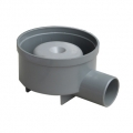 Grey PVC trapped floor drain with side outlet