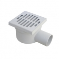 Adjustable grey PP floor drain with side outlet
