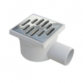 Adjustable grey PP floor drain with side outlet and stainless steel grate