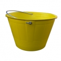 Builder bucket with eyelets and metallic handle yellow