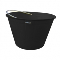 Builder bucket with metallic handle black