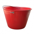 Builder bucket with eyelets and metallic handle red