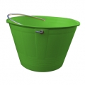 Builder bucket with eyelets and metallic handle green