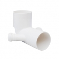 Low WC bend with two couplings - made from white PP
